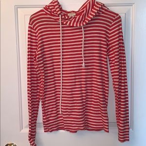 Coral and white striped cotton hooded shirt